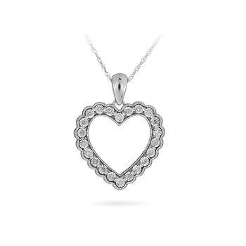 925 Sterling Silver and Diamond Heart Pendant with miracle plates