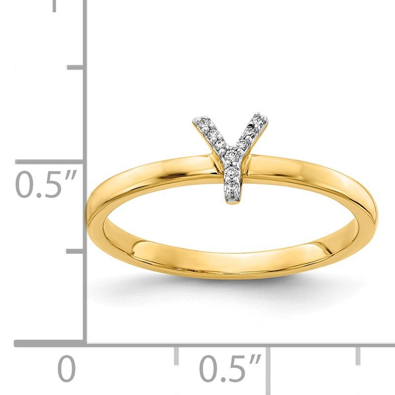 Quality Gold 14k White Gold Diamond Initial Y Ring