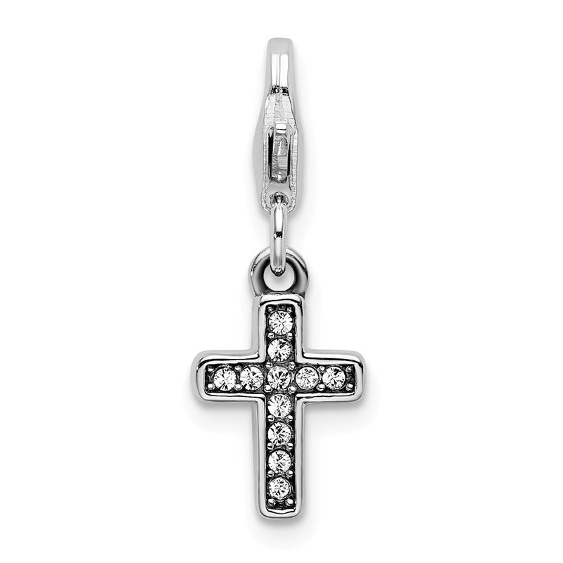 Quality Gold Sterling Silver Clear Swarovski Cross with Lobster Clasp Charm