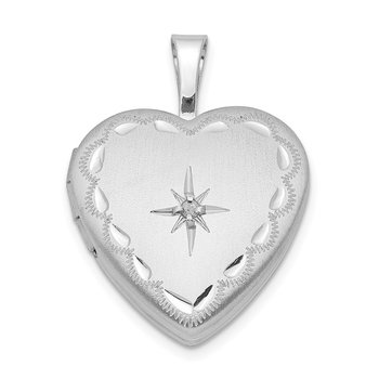 Sterling Silver Rhodium-plated & Dia. 16mm Satin & D/C Heart Locket