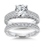 Engagement Ring With Diamond Side Stones in 14K White Gold with Platinum Head (1-1/2ct. tw.)