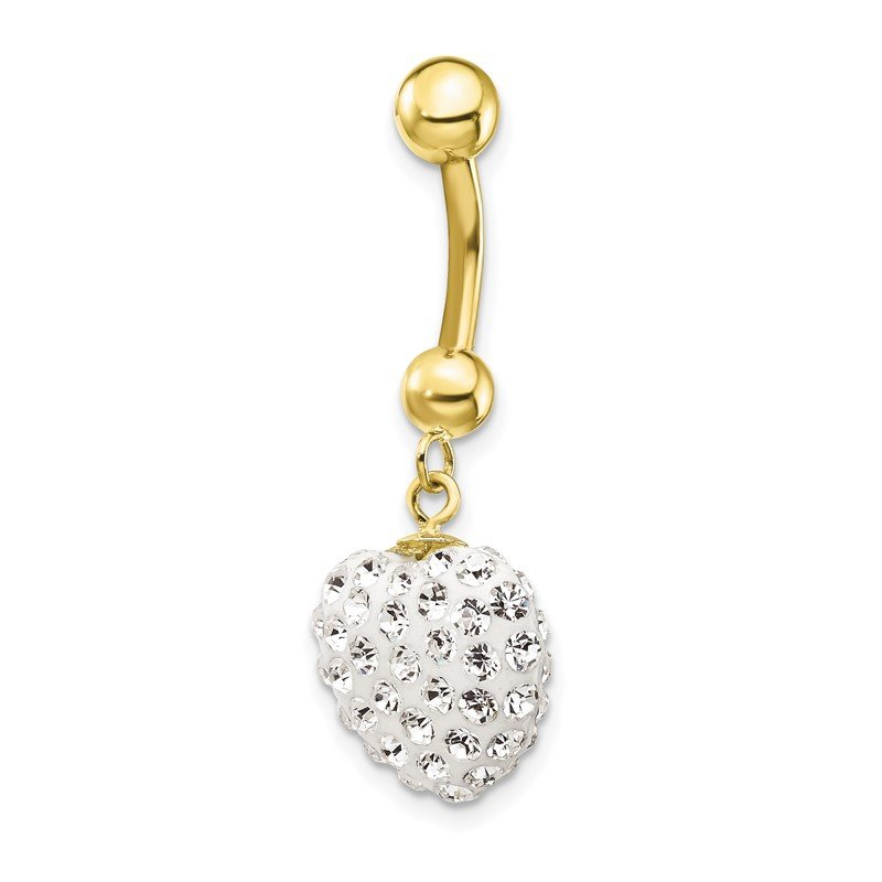 Quality Gold 10k W/Dangle White Crystal Heart Belly Dangle