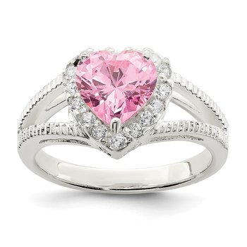 Sterling Silver Pink CZ Heart Ring