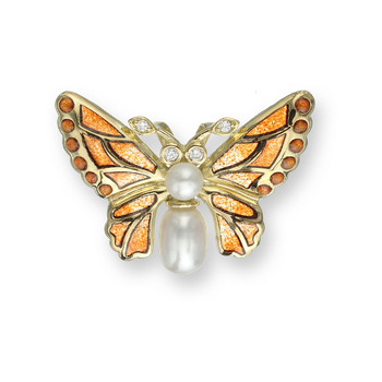 18 Karat Gold Butterfly Necklace-Orange. Diamonds and Pearls