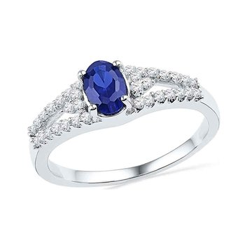 10kt White Gold Womens Oval Lab-Created Blue Sapphire Solitaire Diamond Ring 1.00 Cttw
