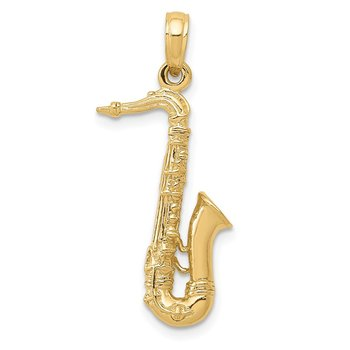 14K Solid Polished 3-D Saxophone Charm
