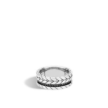 Modern Chain 9MM Band Ring in Silver with Gemstone