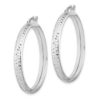 Sterling Silver Rhodium-plated 4x30mm Diamond-cut Hoop Earrings