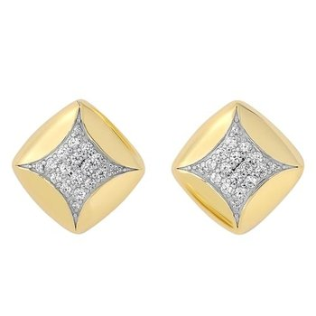Diamond Square Pillow Stud Earrings in Yellow Gold (1/4ctw)