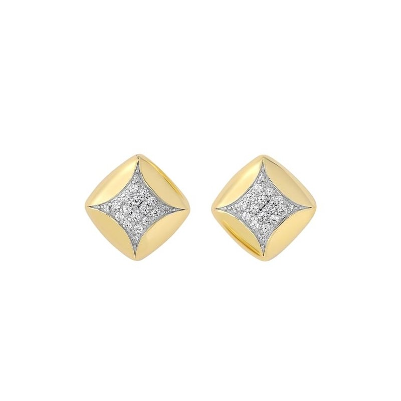 Gems One Diamond Square Pillow Stud Earrings in Yellow Gold (1/4ctw)