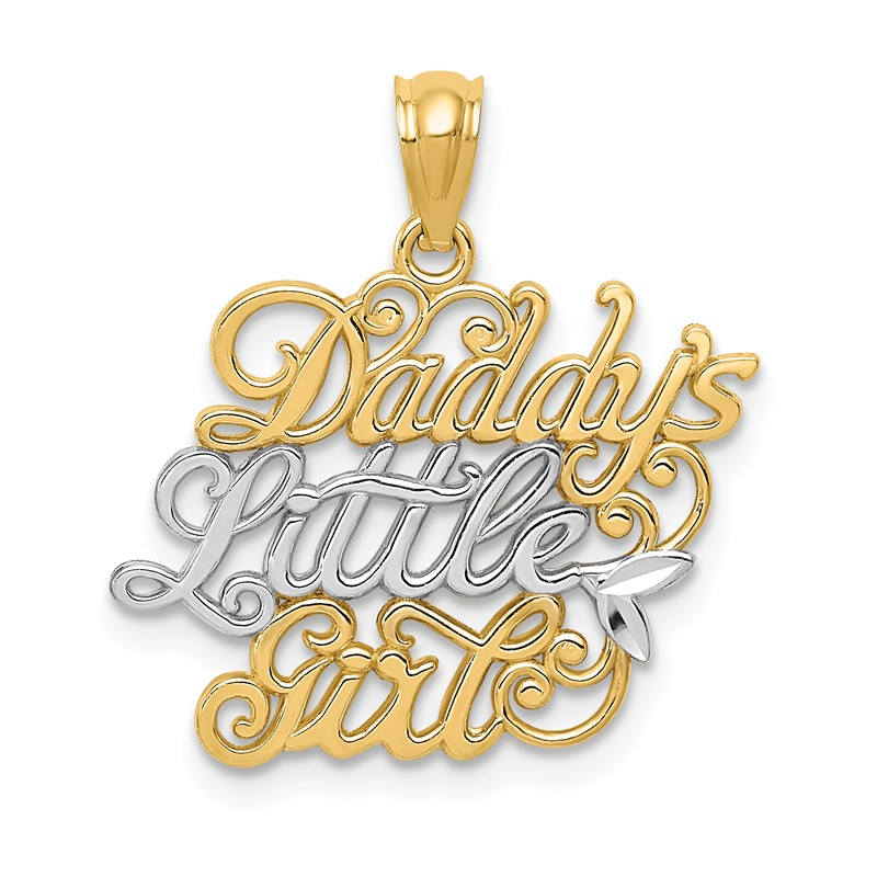 14k Yellow /& Rhodium Daddys Little Girl Casted Polished Charm Pendant
