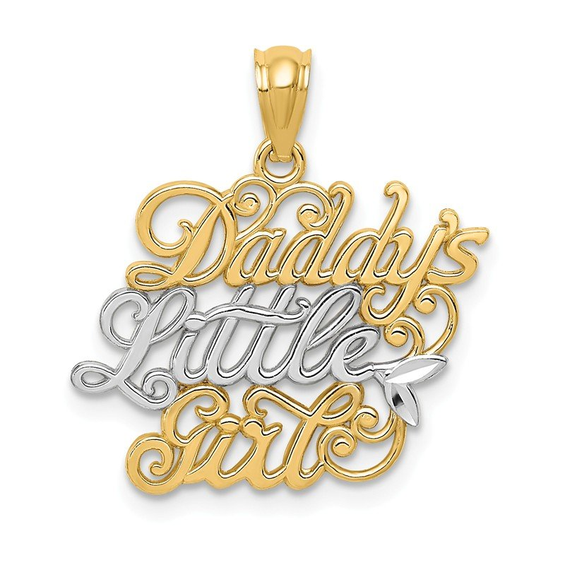 Quality Gold 14k and Rhodium Daddys Little Girl Pendant