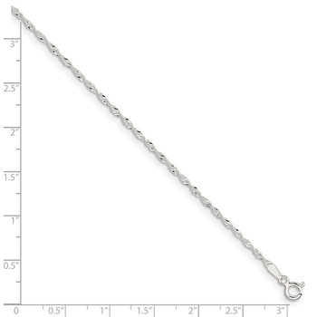 Sterling Silver Singapore 9in Plus 1in ext. Anklet