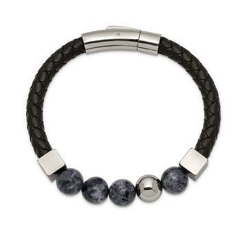 Stainless Steel Polished w/Snowflake Obsidian Black Leather 8in Bracelet