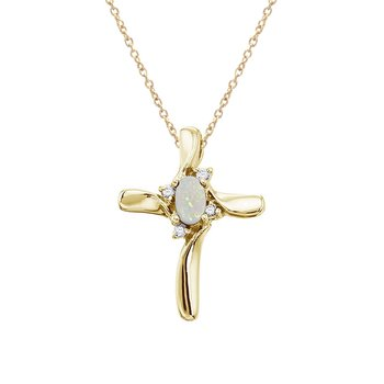 14K Yellow Gold Opal and Diamond Cross Pendant