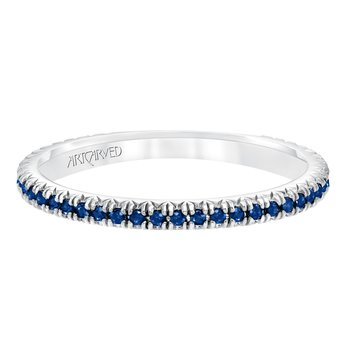 14K White Gold Eternity Sapphire Wedding Band