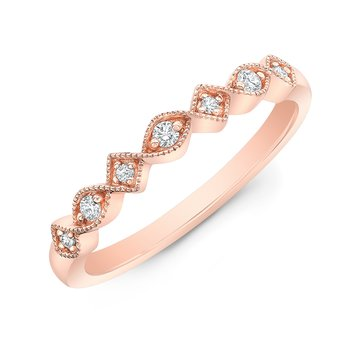 Rose Gold Milgrain Alternating Shapes Stackable Band