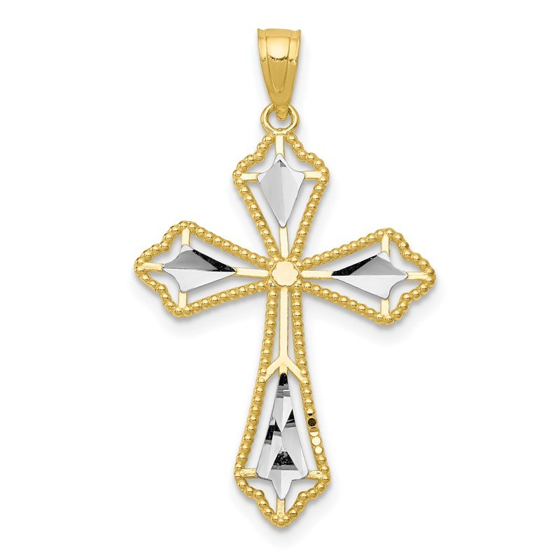 Quality Gold 10K w/Rhodium Diamond-Cut Cross Pendant