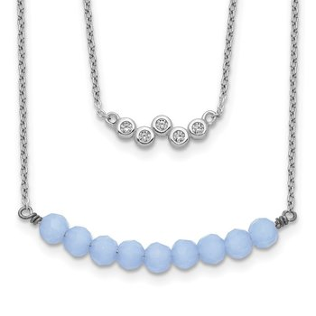 Sterling Silver 2-Strand CZ and Periwinkle Glass Bead Necklace