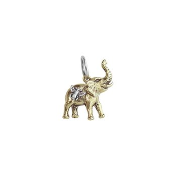 Bee Saved Elephant Charm - Brass & Sterling Silver