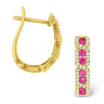 Pink Sapphire & Diamond Hoop Earrings Set in 14 Kt. Gold