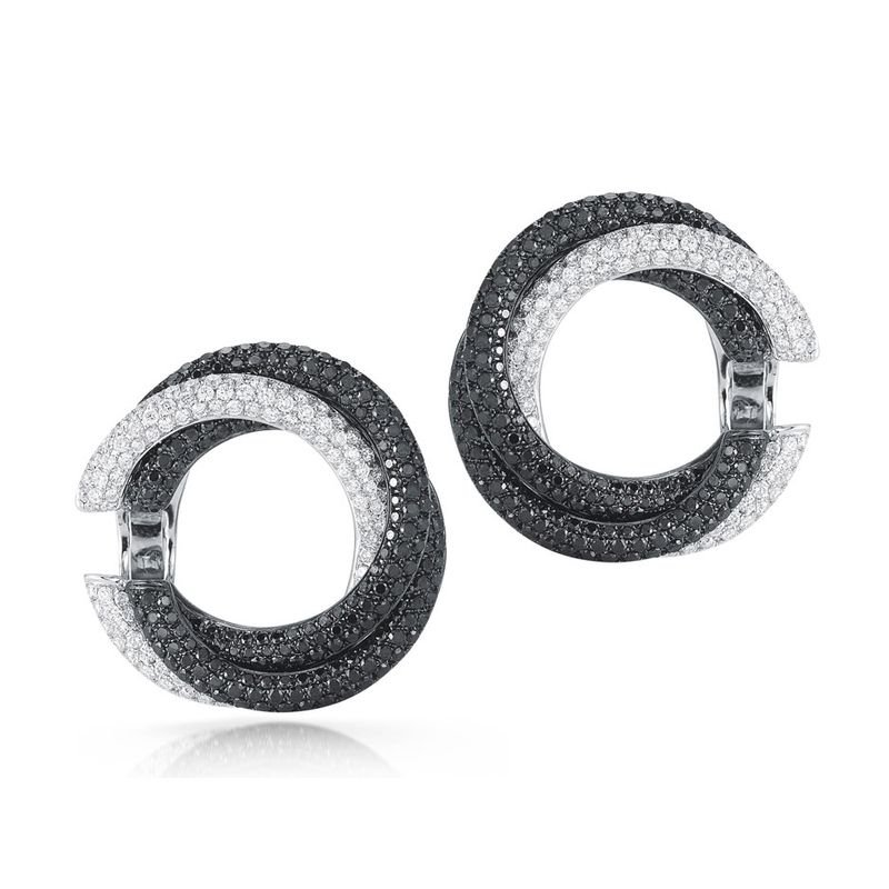 Roberto Coin Twisted Hoops Earrings With Diamonds