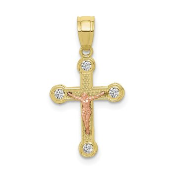 10k Two-tone Small CZ Crucifix Pendant
