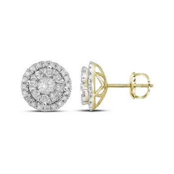 14kt Yellow Gold Womens Round Diamond Concentric Circle Frame Cluster Earrings 1.00 Cttw