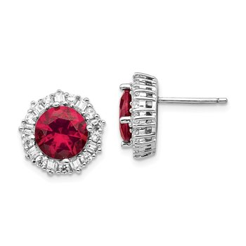 Cheryl M Sterling Silver Rhodium-plated Created Ruby & CZ Post Earrings