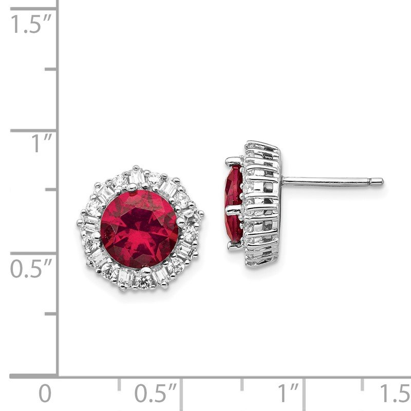 Cheryl M Cheryl M Sterling Silver Rhodium-plated Created Ruby & CZ Post Earrings