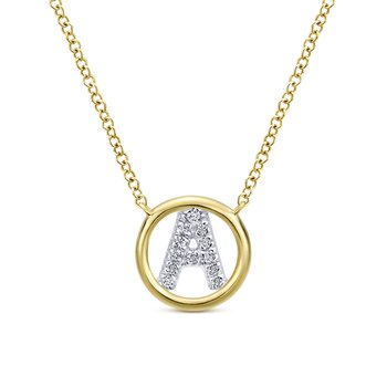 "14K Yellow Gold Diamond ""A"" Initial Necklace"