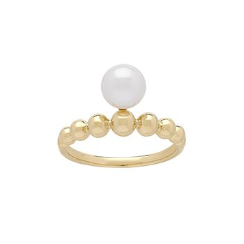 Honora 14KY 7-7.5mm White Round Freshwater Culture Pearl Pebble Band  Ring