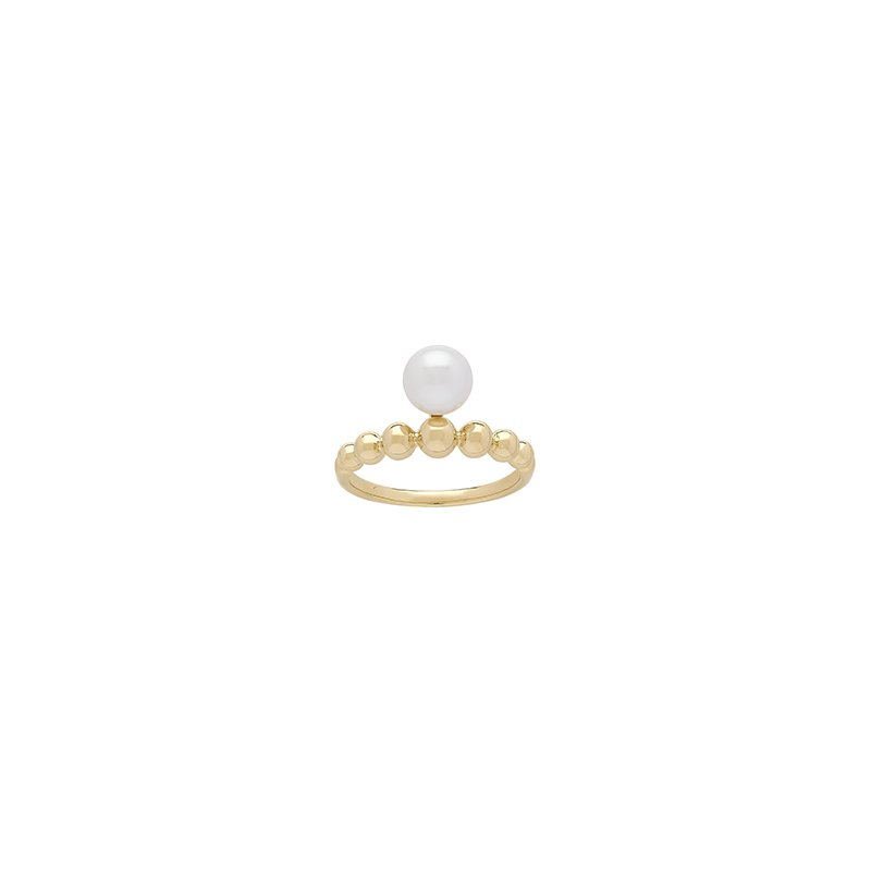 Honora Honora 14KY 7-7.5mm White Round Freshwater Culture Pearl Pebble Band  Ring
