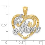 Quality Gold 14k and Rhodium #1 MOM Heart Pendant