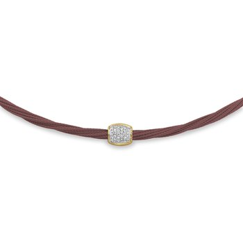 Burgundy Cable Helix Necklace with 18kt Yellow Gold & Diamonds