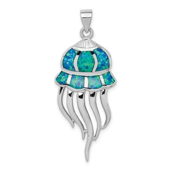 Sterling Silver Rhodium-plated Created Blue Opal Jellyfish Pendant