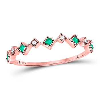 10kt Rose Gold Womens Round Emerald Diamond Square Stackable Band Ring 1/5 Cttw
