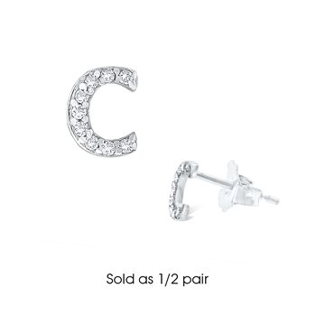 "Diamond Single Initial ""C"" Stud Earring (1/2 pair)"