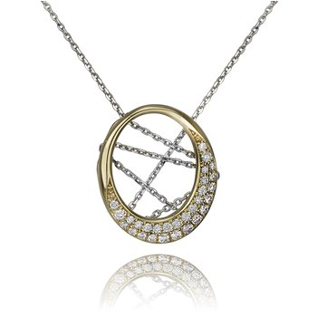 PLACE6617 YELLOW GOLD WITH WHITE GOLD CHAIN