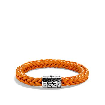 Classic Chain Orange Square Braided Leather 8.5mm Bracelet