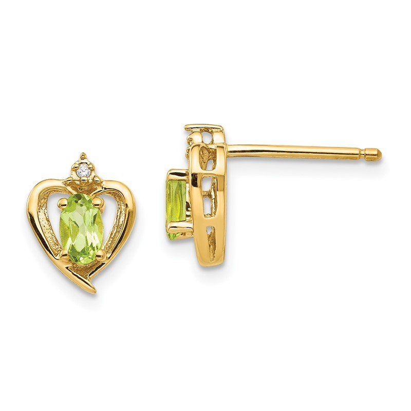 Quality Gold 14k Peridot and Diamond Heart Earrings