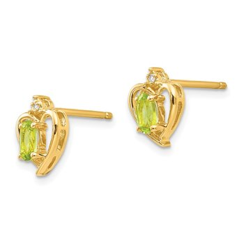 14k Peridot and Diamond Heart Earrings