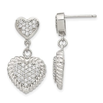 Sterling Silver CZ Heart Dangle Earrings