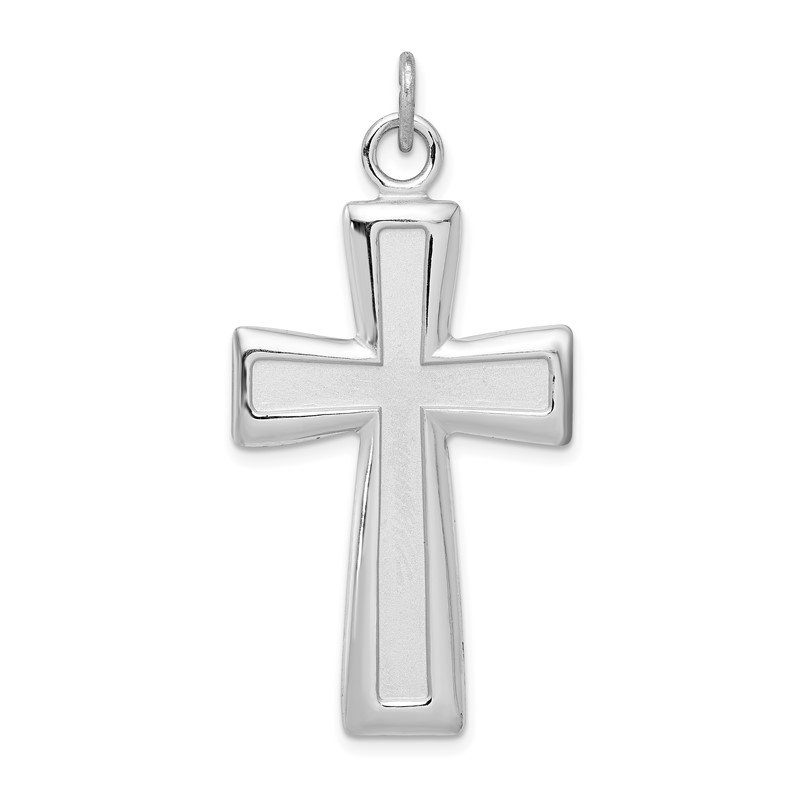 Quality Gold Sterling Silver Rhodium-plated Polished and Satin Cross Pendant