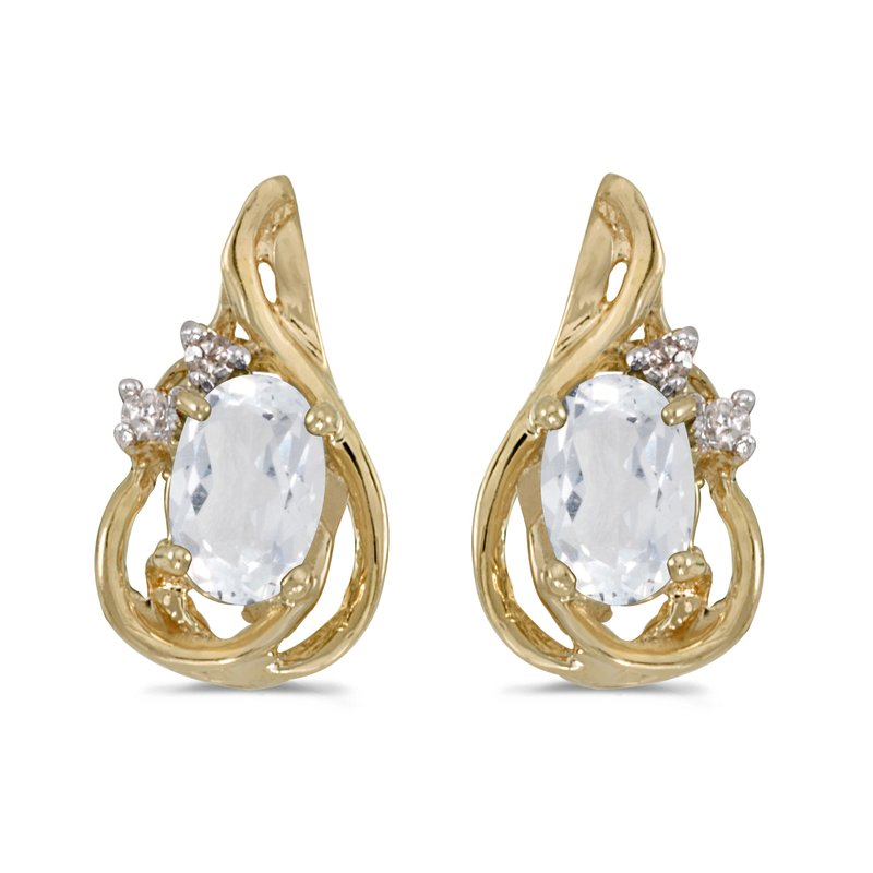 10k Yellow Gold Oval White Topaz And Diamond Teardrop Earrings