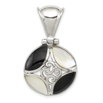Sterling Silver Black Onyx & Mother Of Pearl Pendant