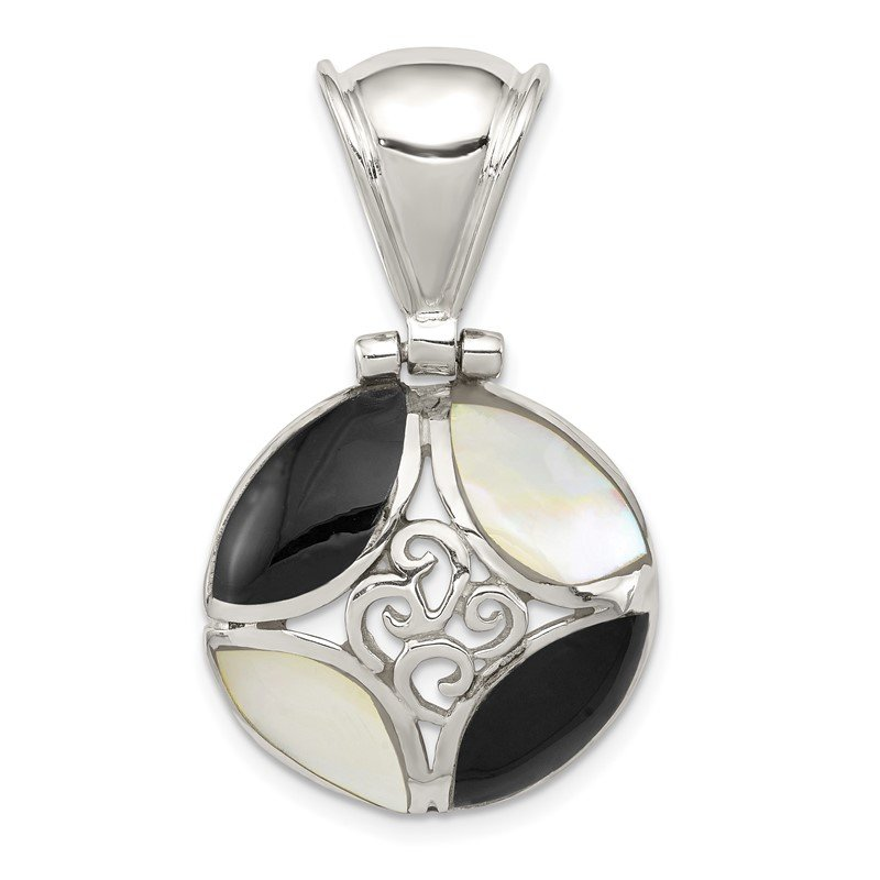 Quality Gold Sterling Silver Black Onyx & Mother Of Pearl Pendant
