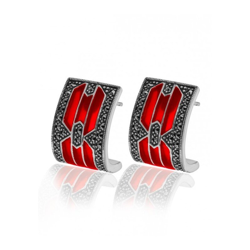 LARUS Jewelry Modern Royal Earrings Red