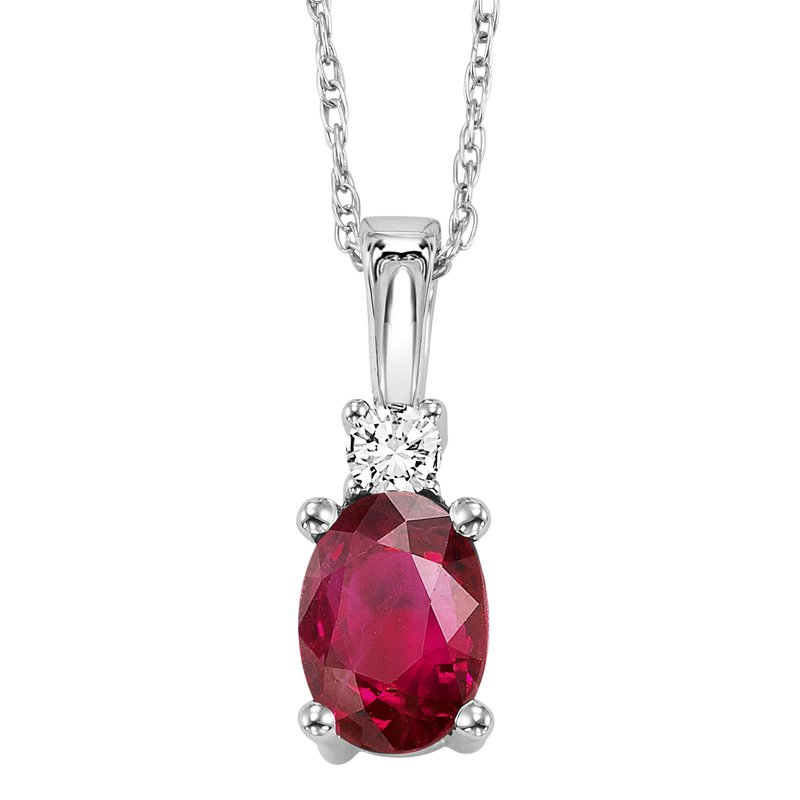 Gemsone 14K Ruby & Diamond Pendant