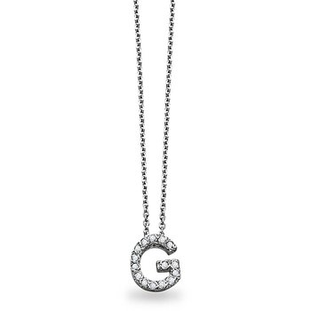 "Diamond Block Initial ""G"" Necklace in 14k White Gold with 15 Diamonds weighing .12ct tw."